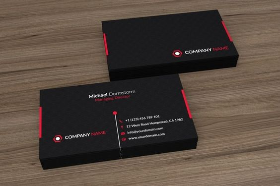 Black Red Corporate Business Card by aykutfiliz on Creative Market