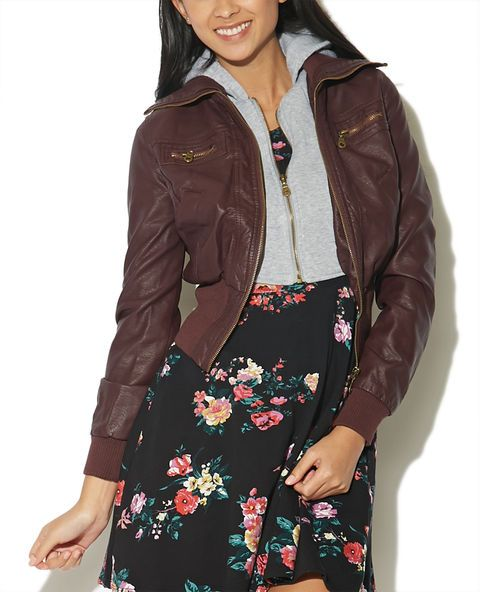 Faux Leather Jacket With Hoodie - WetSeal