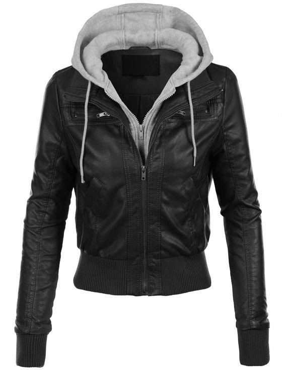 Womens Casual Motorcycle Fleece Hoodie Faux Leather Jacket