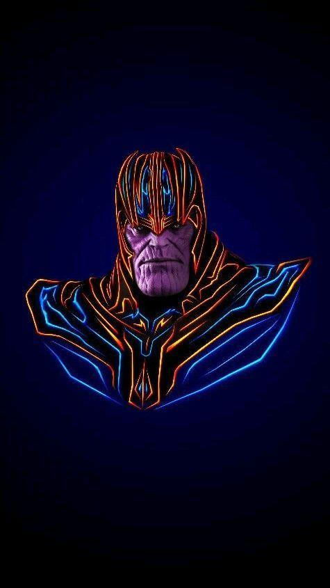 Avengers Neon Thanos Iphone Wallpaper Marvel Artwork Marvel
