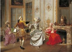 The Minuet circa 1898  This oil painting was painted by Francis Brunery. Brunery was one of the renowned 'Cardinal Painters' painting in Paris at the end of the nineteenth century.