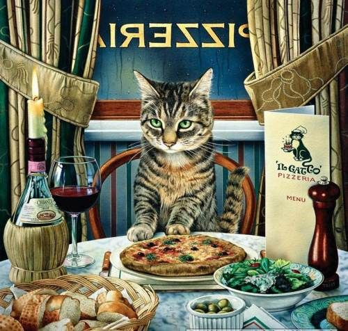 My sort of cat who drinks chianti and likes pizza