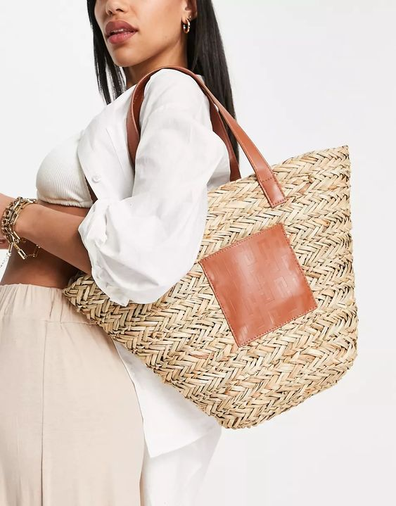 ASOS DESIGN vase tote bag in straw with monogram panel