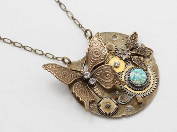Steampunk Necklace Vintage pocket watch gears par steampunknation