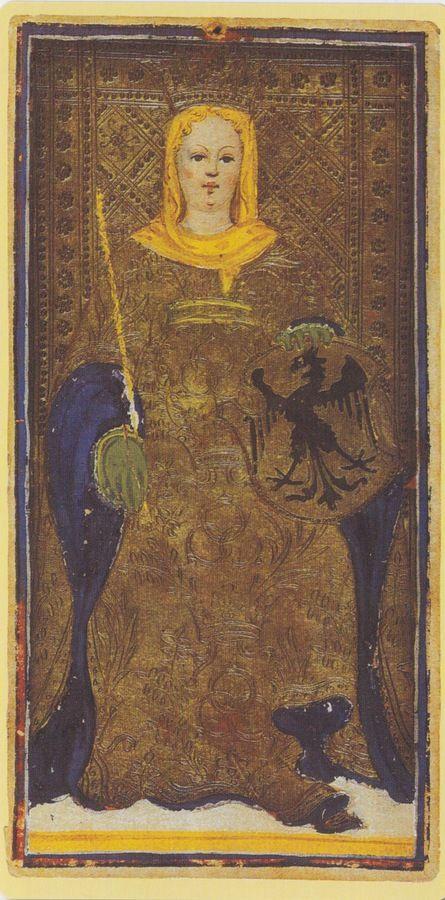 The Empress -- Pierpont Morgan Visconti Sforza Tarocchi Deck, Italy, Milan, ca. 1450:
