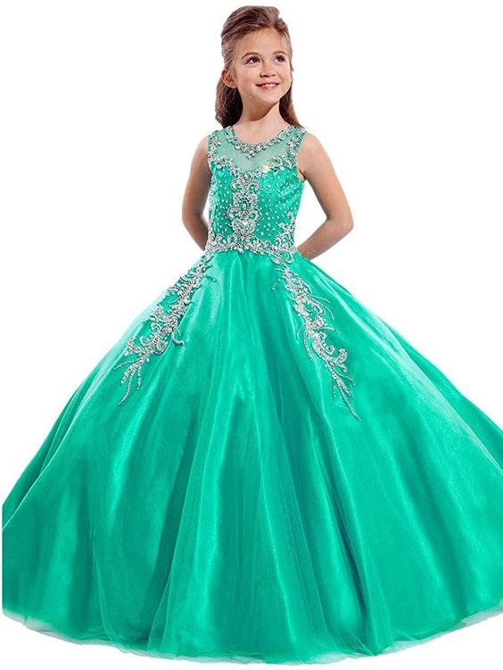 Amazon.com: Y&C Big Girls' Sheer Sleeve Sequins Long Ball Gowns Pageant Dresses: Clothing