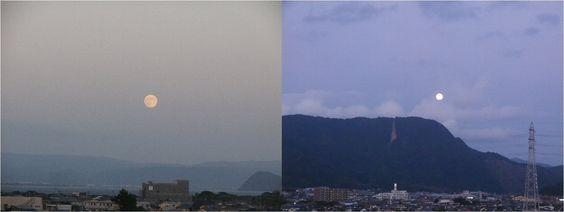 2013年9月 仲秋の名月 19日の月の出(左) 20日の月の入り(右)