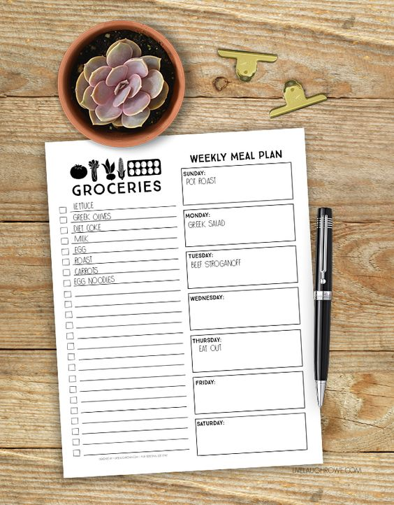 Farmhouse inspired printable menu planner -- and how to use online grocery pickup to save time and money! livelaughrowe.com: