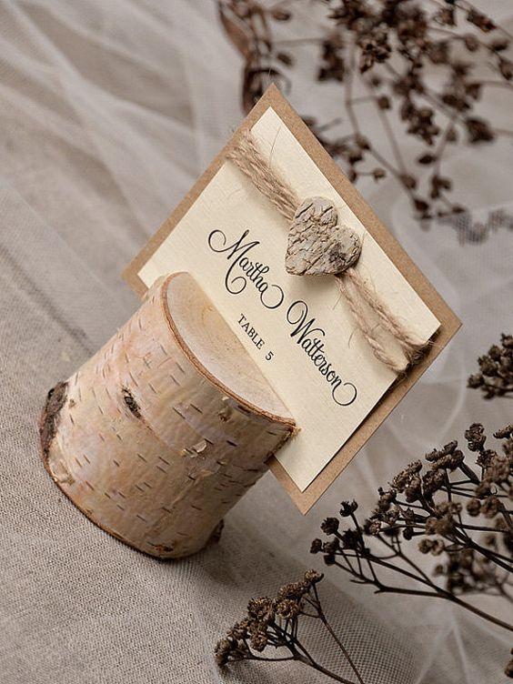 Namensschilder Holz Hochzeit ~   , Birke Hochzeit Escort Karte mit Halter, Hochzeit Tischkarte