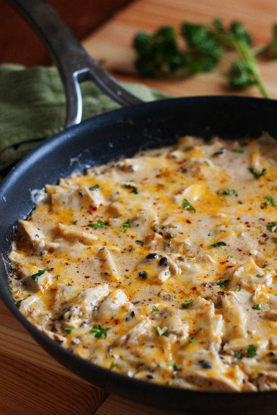 One Pan Sour Cream Chicken Enchilada Skillet