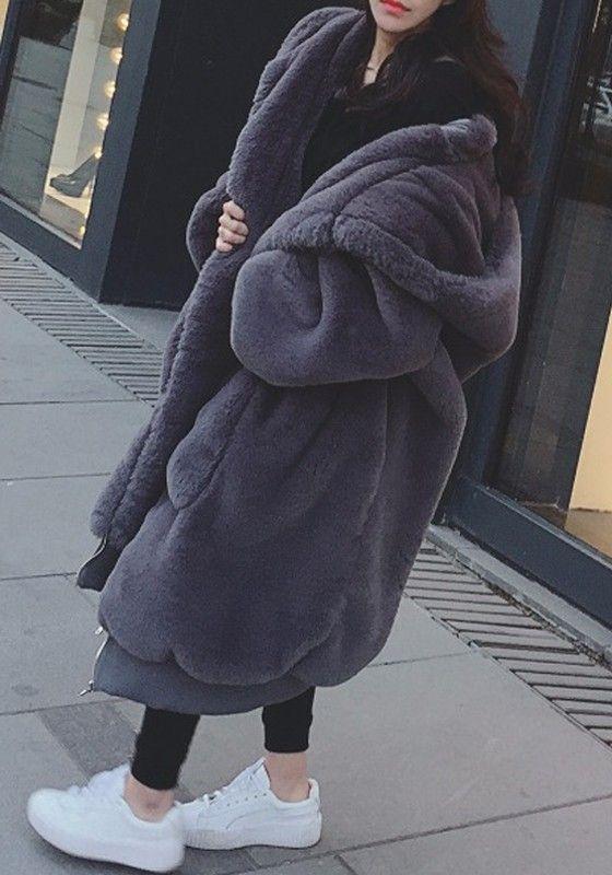 Dark Grey Dd Pockets Zipper Faux, Oversized Faux Fur Coat With Hood