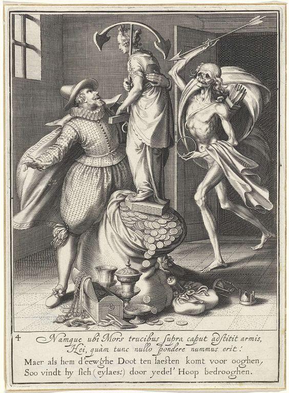 Willem Isaacsz. van Swanenburg   Man wordt door de dood gehaald, Willem Isaacsz. van Swanenburg, Maarten van Heemskerck, 1609   De Dood komt met een pijl in zijn hand en een pijlkoker op zijn rug de kamer binnen. Links staat een man die probeert te voorkomen dat een standbeeld met een anker als symbool voor hoop van de geldzak valt. Bij de zak staan nog enkele kostbaarheden. Onder de voorstelling bevindt zich een tweeregelige, Latijnse tekst en een tweeregelig, Nederlands gedicht waarin de…