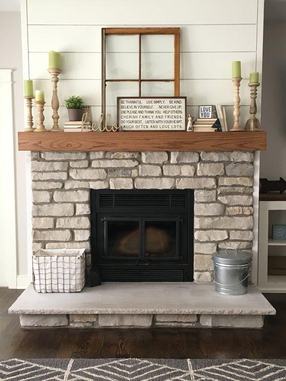 Natural lannon stone fireplace, shiplap