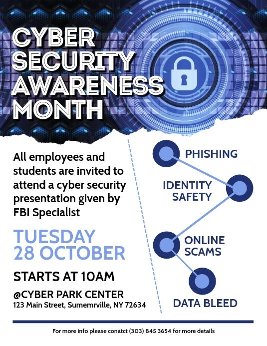 Cyber Security Awareness Month Flyer In 2020 Cyber Security Awareness Month Cyber Security Awareness Cyber Security