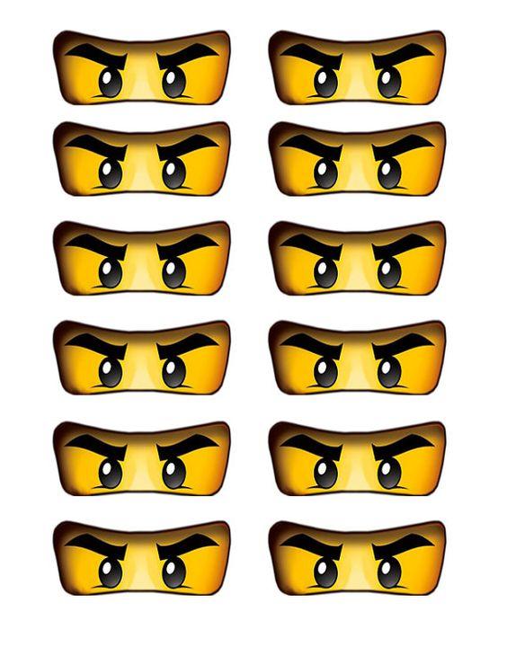 Lego ninjago eyes cutout for birthday party balloons, cake, cupcakes, water bottles, etc.