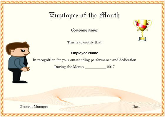 Colorful Employee Of The Month Certificate Templates With Thoughtful Words And Selection Criteria Certificate Template Certificate Templates Funny Certificates