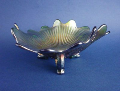 Northwood 'Leaf and Beads - Rayed Interior' Green Carnival Glass Three-footed Candy Dish
