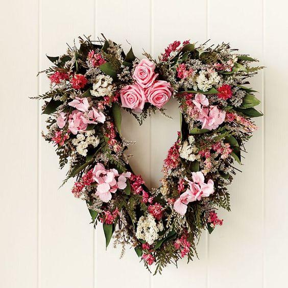 pink flower heart wreath