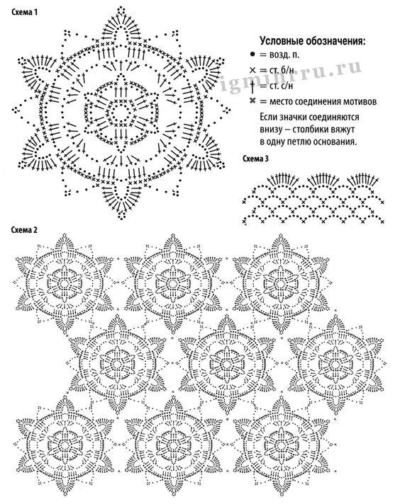 Пуловер кремового цвета, из цветочных мотивов. Крючок
