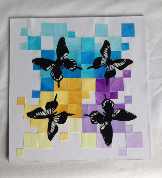 Butterflies- Mosaic Inspired Wall Art Collage now available at: ww.etsy.com/shop/withloveknc    Direct listing link: https://www.etsy.com/listing/113669566/butterflies-mosaic-inspired-wall-art