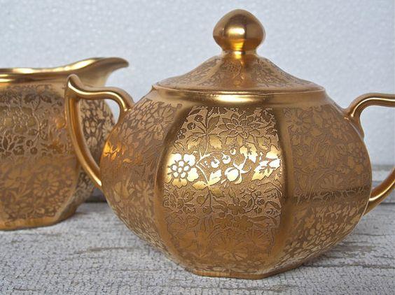 Gold Porcelain Creamer Sugar Barvaria Antique by rosebudshome, $190.00