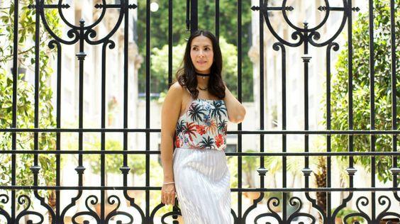 choker, metallic skirt, falda metalica, palmeras, palm tree, metallic trend