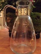 Vintage Atomic Gold And Glass Carafe With Metal Handle Rare Starburst