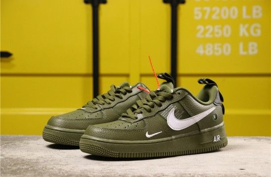 Nike Air Force 1 07 Lv8 Overbranding Utility Olive Canvas Aj7747 300