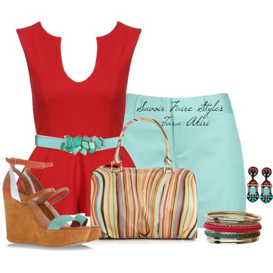 """Red & Turquoise"" by tara-akiri on Polyvore"