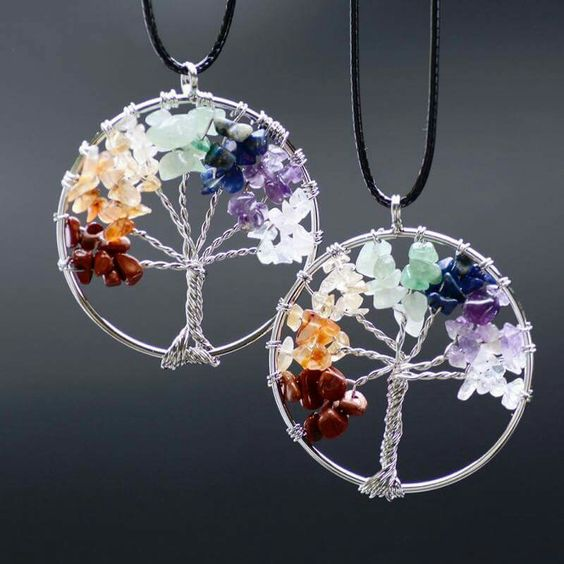 Cool Tree of Life Chakra Natural Stone Pendent Necklace!  Get yours here => https://goo.gl/nMXcKR