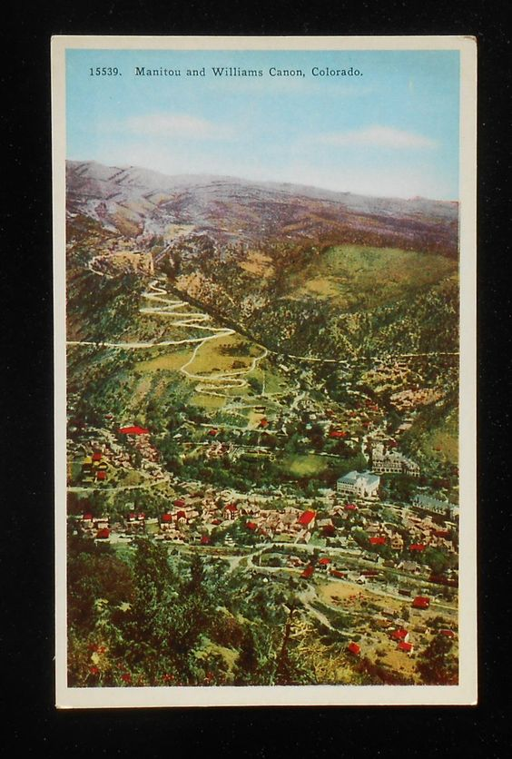 1920s Panorama of Town and Williams Canon Manitou CO El Paso Co Postcard  in Collectibles, Postcards, US States, Cities & Towns, Colorado | eBay