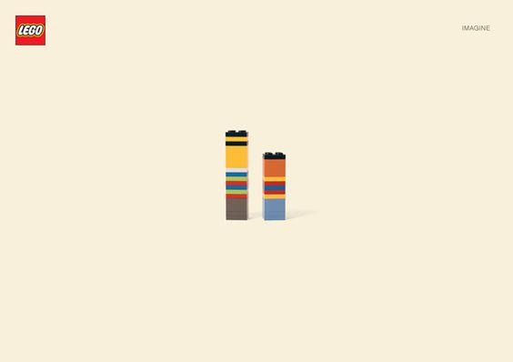 A nova campanha da marca de brinquedos Lego, criada pela agência alemã Jung Von Matt, transforma as peças em imagens minimalistas.