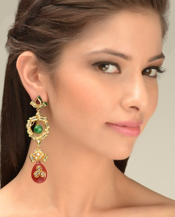 Kundan Dangling Long Earrings with Maroon Bead Drop  by Just Jewellery