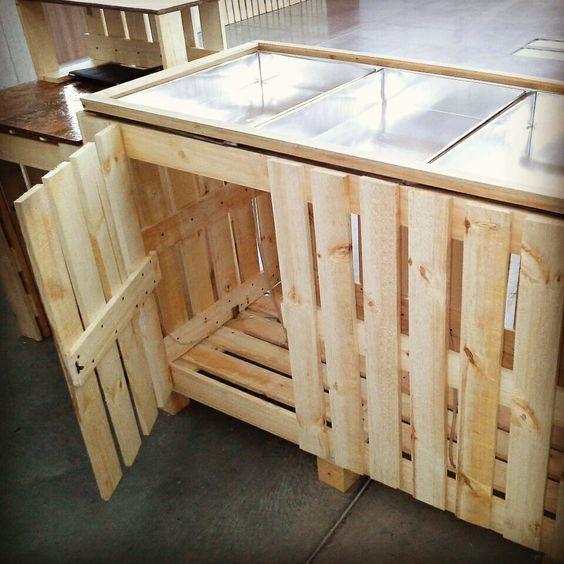 Barra para ensaladas practica y funcional stand - Como hacer una barra con palets ...