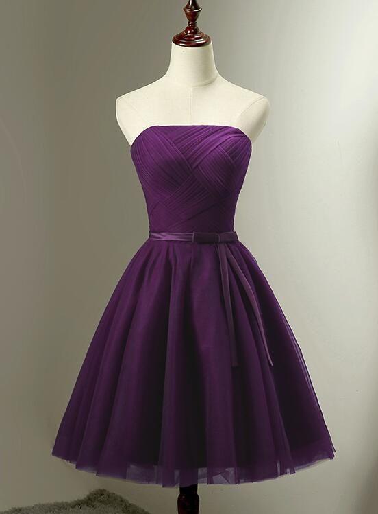 Cute Dark Purple Tulle Short Bridesmaid Dress Tulle Party Dress