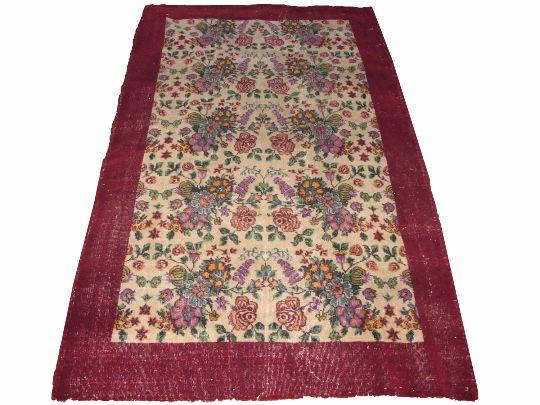 www.aksaraycarpet.com #carpet #rug #vintage #handmade #handwoven #etsy #floral #flower  Turkish Artdeco Rug  Floral Design         94 x 59