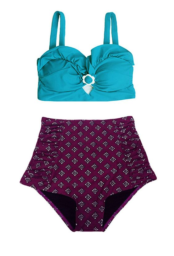 Teal Turquoise Top And Blue Ruched High Waisted Waist High