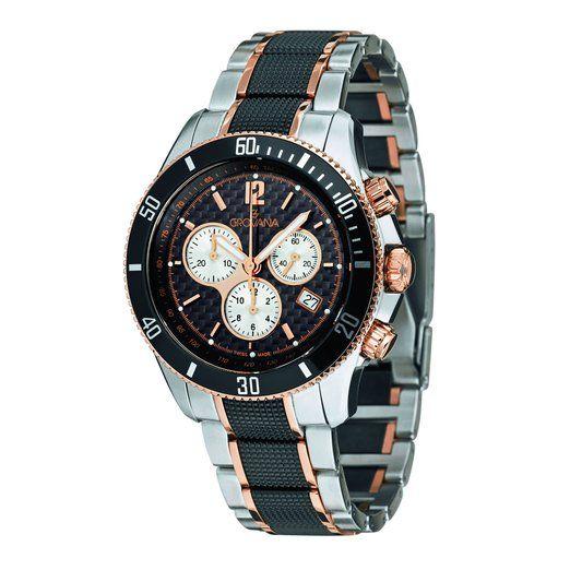 Grovana 1615,9187 - Reloj cronógrafo de cuarzo para hombre, correa de acero inoxidable color plateado (cronómetro, agujas luminiscentes)