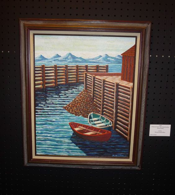 Acrylic Painting of Boats in Nova Scotia.