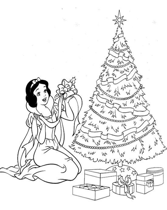 Free Printable Christmas Princess Coloring Pages : Disney princess and tree christmas coloring page
