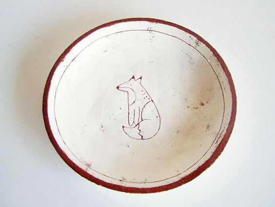 Fox Plate  Made to Order  Side Plate  Terracotta by susansimonini, $28.00