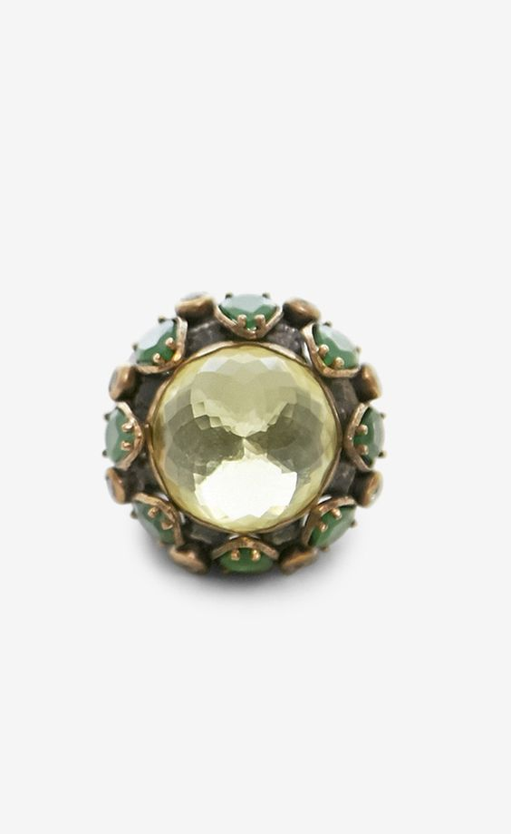 CB Luxe Yellow, Green And Multicolor Ring