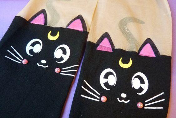 Sailor Moon Luna Cat Black Knee High Hosiery Pantyhose Tattoo Socks Leggings Tights Stockings by MichiMichiRainbow on Etsy https://www.etsy.com/listing/206086384/sailor-moon-luna-cat-black-knee-high