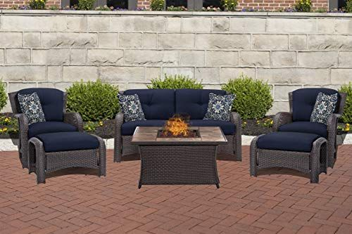 New Hanover Strath6pcfp Nvy Tn 6 Piece Strathmere Lounge Set In Navy Blue With Fire Pit Table Outdoo With Images Sectional Patio Furniture Fire Pit Table Outdoor Furniture