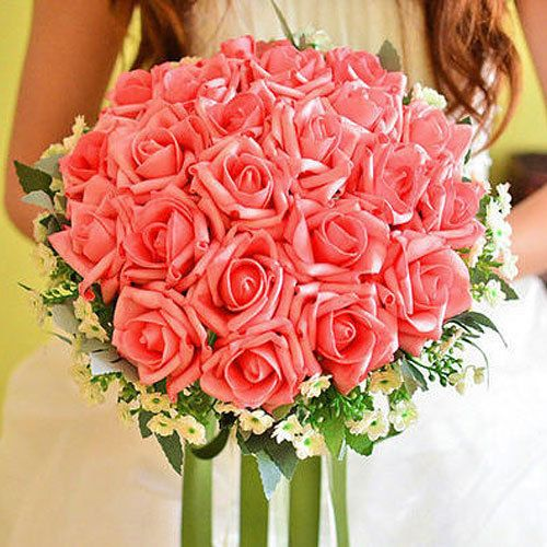 Pugster® New Handmade PE Pink Flower Wedding Floral Rose Bouquet Heirloom A01 #Pugster