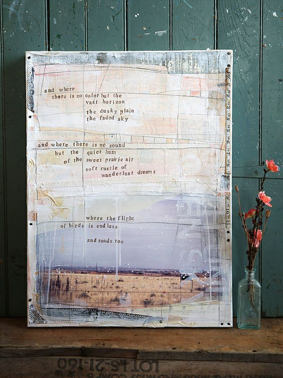 Under the Open Sky No. 1 - rustic collage word art. See the printing