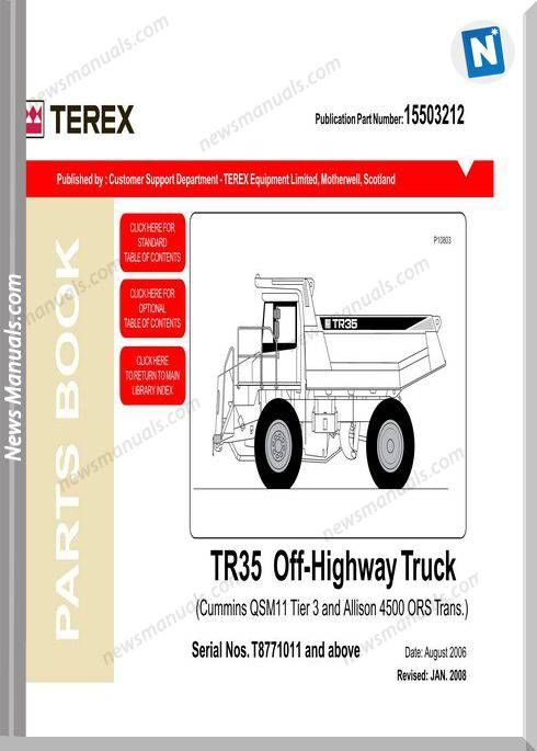Terex Tr35 Off Highway Truck Parts Book Trucks Truck Parts Manual
