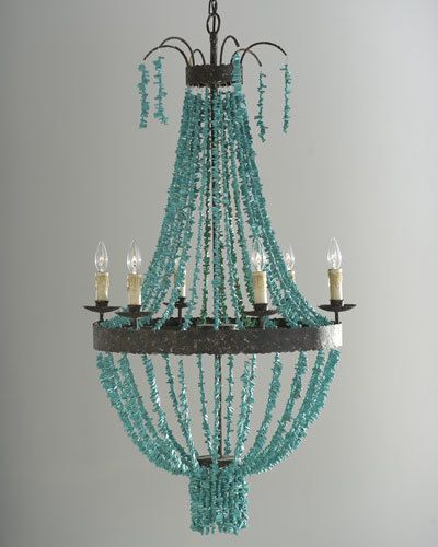 Regina-Andrew Design Turquoise Beads 6-Light Chandelier