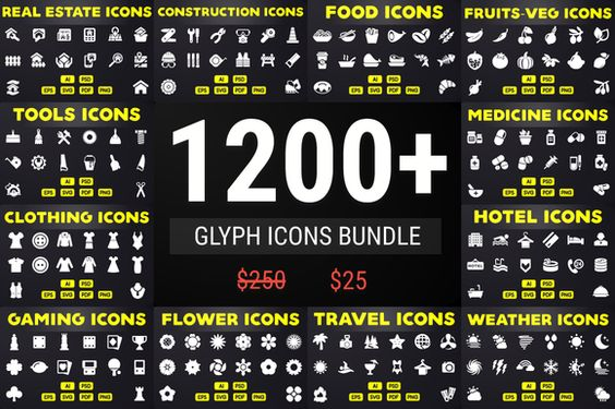 Save 90% - Glyph Icons Bundle by ChamIcon on @creativemarket