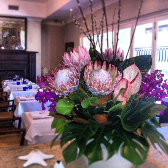 Lovely flowers in the restaurant today